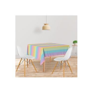 Imagem de Toalha De Mesa Quadrada Tecido Oxford Listras Coloridas TL71 - 140x140cm