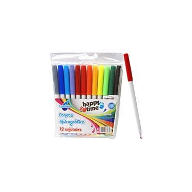 Caneta hidrográfica 12 cores para colorir Happy-time BT 1 UN