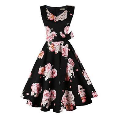 Dressever Vestido de festa sem mangas vintage dos anos 50 e 60, Flor rosa preta, XXL