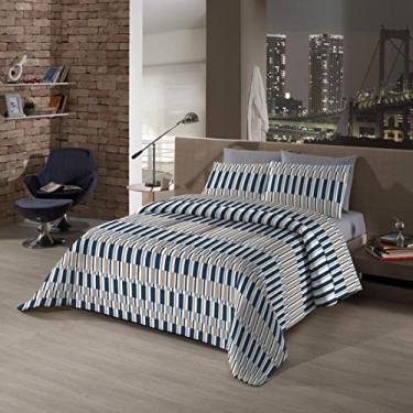 Kit Cama Bed in a Bag Solteiro Borgo Camesa Cinza/Azul/Bege Poliester