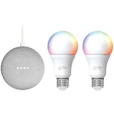 Imagem de Kit Nest Mini 2ª Geração Smart Speaker - Com Google Assistente + 2 Lâm