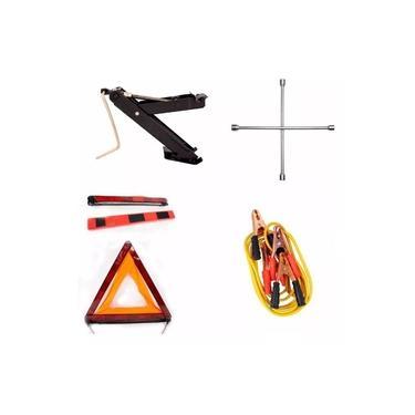 Kit Estepe Carros Macaco Triangulo Chave Roda E Cabo Bateria