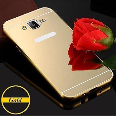 f4ed5e5eb Capa Case Bumper Alumínio Espelhada Celular Samsung Galaxy J7 J700 Dourado