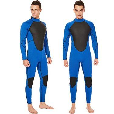 Realon Traje de mergulho masculino 3 mm Traje de banho completo 2 mm Short Snorkeling 5 mm Roupa de mergulho macacão de natação (azul, pequeno)