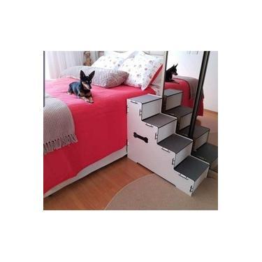 Escada Pet Cachorros Em Mdf Com 4 Degraus- 60cm Altura