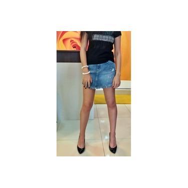 Mini Saia Jeans Jeanseria Com Respingos