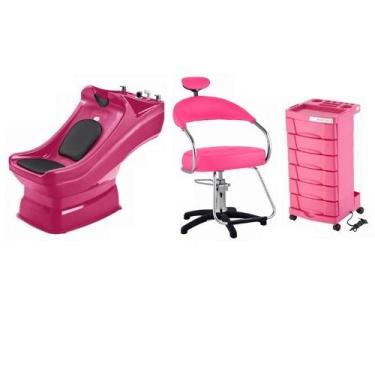 Kit Salão Cabeleireiro Lavatório Cadeira Carrinho Rosa Dompel