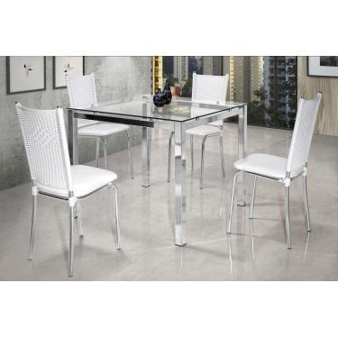 Conjunto Mesa de Jantar Vega Aço Cromado 4 Cadeiras Branco