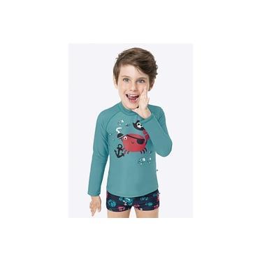 Blusa com Proteção UV + Sunga Boxer Infantil Verão Verde Pirata Malwee
