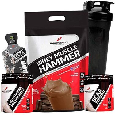 Kit Massa Muscular - Whey Muscle Hammer 900g + Glutamina 150g + Bcaa + Coqueteleira - Body Action