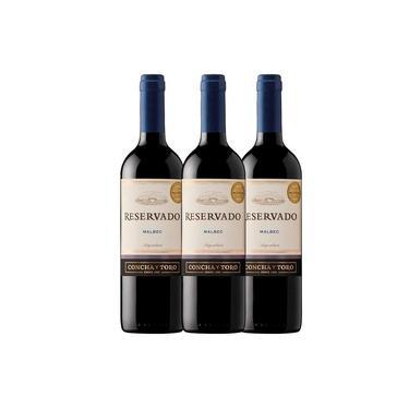 Kit Vinho Importado Chileno Concha y Toro Reservado Malbec 750ml - 3 garrafas