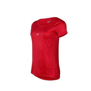Speedo Basic Strech Camiseta de Manga Curta, Mulheres, Vermelho, G