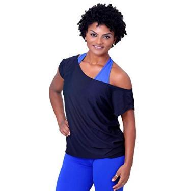 Camisa Fitness Lisa Ombro Caído Feminina Dry Fit (Branco, M)