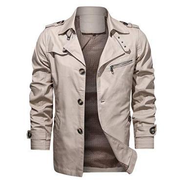 SWGG Jaqueta casual masculina de algodão puro de outono novo estilo lapela de tamanho grande jaqueta de comprimento médio jaqueta branco cremoso XXL