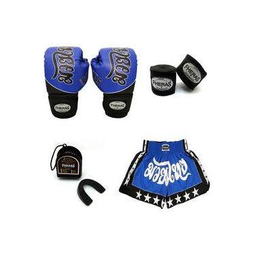 Kit Boxe- Luva Bandagem Bucal Shorts - Tailandês Azul 14 OZ