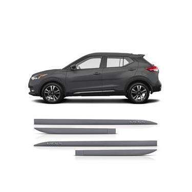 Friso Lateral Nissan Kicks 2016 a 2020 Protetor Portas Cinza Grafite Letra Cromada 4 peças