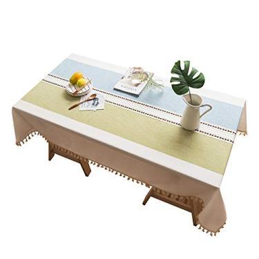 Imagem de MuYiYi11 Toalha de mesa xadrez com borla, capa de mesa para cozinha, sala de jantar, retangular/oblongo, 140 cm x 200 cm, 4-6 assentos 1#