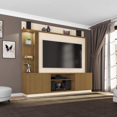 Estante Home para TVs até 65 Polegadas 2 Portas LED Embutido Atlanta Móveis Bechara Cinamomo/Off White Ripado