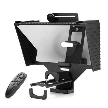Universal teleprompter prompter com bt lente de controle remoto adaptador anel para telefone