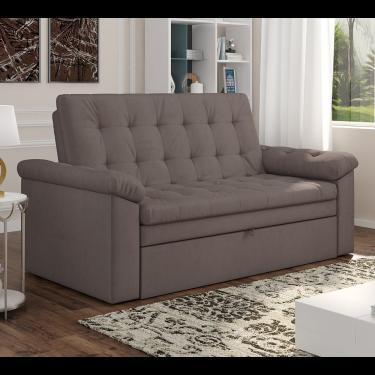 Sofa Cama Roxane Matrix - Veludo Ligth Marrom Claro