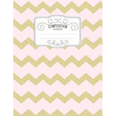 Composition Notebook: Kawaii College Ruled Narrow Line Comp Books for School - Chevron Pastel Pink Gold: 12