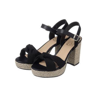 Sandália  Salto Quadrado com Detalhe em Nó Camurça Preto  feminino