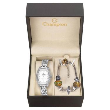 8db2617f608 Kit Relógio Feminino Champion Analógico CN27152Y - Prata
