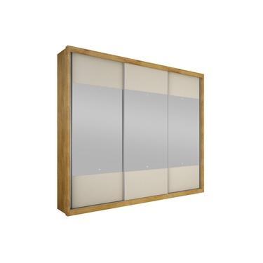 Imagem de Guarda-Roupa Casal 3 Portas com Espelho Hórizon- Novo Horizonte - Freijo dourado / Off white