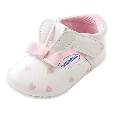 Sapatos infantis Mary Jane Flats Coelho Arco Rosa