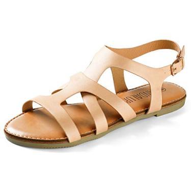 Sandálias de verão sem salto com bico aberto para mulheres e sapatos de praia casuais, Caqui, 6