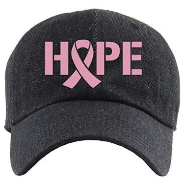 Tstars Boné de beisebol de conscientização do câncer de mama Hope com fita rosa bordada, Hope jeans preto, tamanho �nico