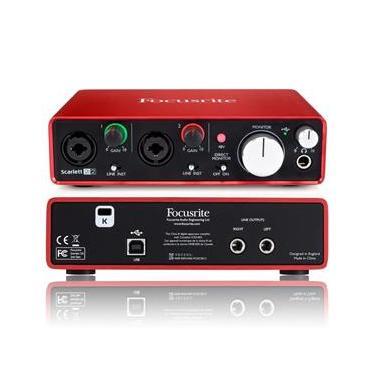Interface Audio Usb 192Khz Focusrite Scarlett 2I2 2°Geração