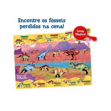 Imagem de Puzzle Elka Play Dinossauros Lente Mágica Manual do Mundo - 100 Peças