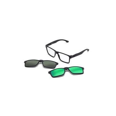 Imagem de Armação Oculos Grau Mormaii Swap M6057ace56 Preto Fosco Com 2 Clip On Polarizado