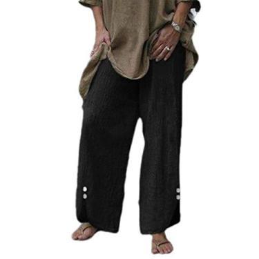 SELX Calça feminina de verão, leve, cintura elástica, cor lisa, algodão e linho, Preto, Large