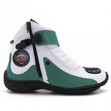 Imagem de Bota Motociclista Atron Shoes 271 - Verde Branco