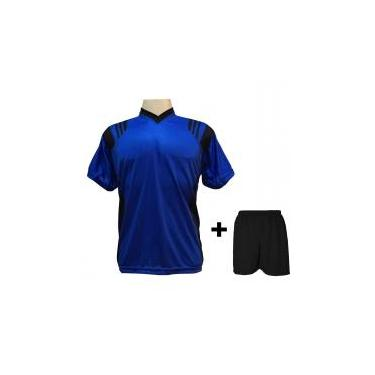 3bdab9ff4b Uniforme Esportivo com 12 camisas modelo Roma Royal Preto + 12 calções  modelo Madrid Preto