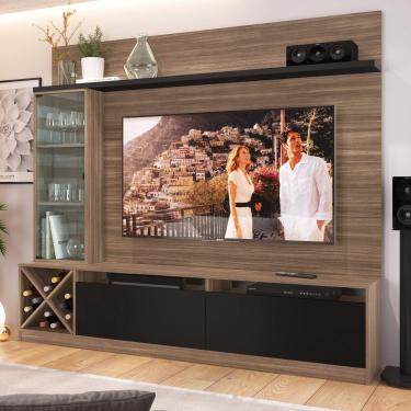 Estante Home Para TV até 50 Polegadas 1 Porta de Vidro Sorrento Quiditá Montana/Preto