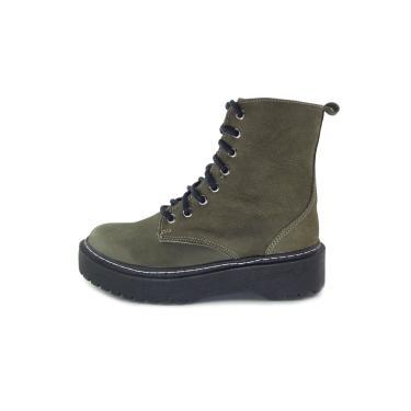 Bota Coturno Cano Curto Scarpan Calçados Finos com Cadarço Couro Nobuck Verde Militar  feminino