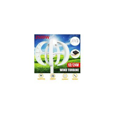 2500W 12V / 24V 5 Lâminas Gerador automático de turbinas eólicas Ímã permanente Gerador de economia de energia eficiente Gerador de turbinas eólicas Carga