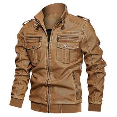 Jaqueta masculina UUYUK de couro sintético para motociclista plus size outono inverno retrô casaco agasalho, 1, Large