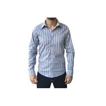 Camisa manga longa Dágora Referencia 1548 modelo social cor azul com bege/listradinha