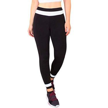 Calça Feminina Legging Fitness Preto Detalhe Branco Cintura