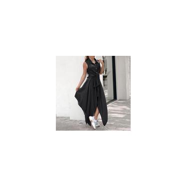 Vonda verão feminino com gola virada para baixo vestido sem mangas vestido casual com auto-gravata na cintura vestido irregular vestido de férias plus size Preto 5XL