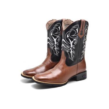 Bota Texana Bico Quadrado Masculina Conforto Marrom/Preto