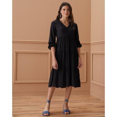 vestido midi em camadas decote v Feminino AMARO PRETO EPP