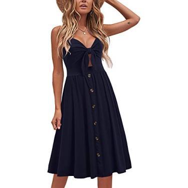 Liyinxi Vestido feminino de verão com decote em V, alças finas e bolsos, Azul marinho, Small