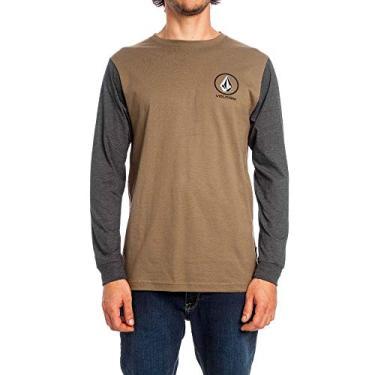 1aa638e6de Camiseta Manga Longa Crisp Stone Masculino Volcom Verde Militar Preto  Mescla - G