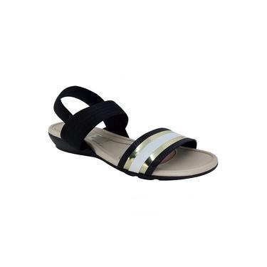Sandália Casual Feminina Modare Ultraconforto Tiras Largas Com Elástico Salto Baixo Napa Sense 7127.214 - Preto