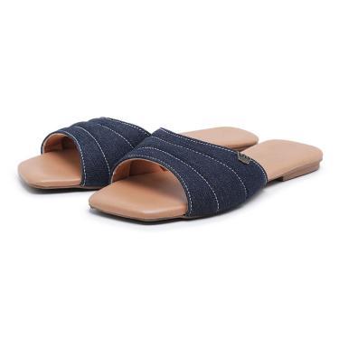 Rasteira Carmelo Shoes Recorte Conforto Bico Quadrado Azul  feminino